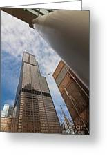 Sears Tower From Across The Street Greeting Card by Sven Brogren
