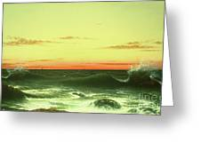 Seascape Sunset 1861 Greeting Card by Martin Johnson Heade
