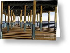 Seascape Walk On The Pier Greeting Card by Carol F Austin
