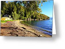 Seaside House On Corfu Greeting Card by Paul Cowan