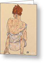 Seated Woman In Underwear Greeting Card by Egon Schiele