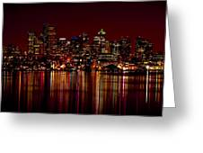 Seattle Nightscape Greeting Card by Rich Leighton