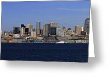 Seattle Panoramic Greeting Card by Adam Romanowicz