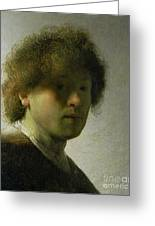 Self Portrait As A Young Man Greeting Card by Rembrandt