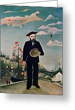 Self Portrait From Lile Saint Louis Greeting Card by Henri Rousseau