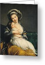 Self Portrait In A Turban With Her Child Greeting Card by Elisabeth Louise Vigee Lebrun