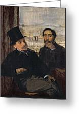 Self Portrait With Evariste De Valernes Greeting Card by Edgar Degas