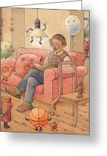 Self-portrait With My Things Greeting Card by Kestutis Kasparavicius
