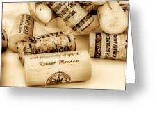 Sepia Corks Greeting Card by Cheryl Young