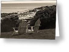 Sepia Seaside Retreat Greeting Card by Lone  Dakota Photography