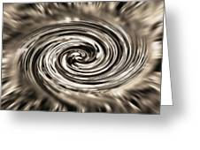 Sepia Whirlpool - Derived From Ribbon Grass Plant Image Greeting Card by Steve Ohlsen