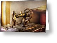 Sewing - A Black And White Sewing Machine  Greeting Card by Mike Savad