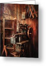 Sewing - Sewing Machine For Saddle Making Greeting Card by Mike Savad