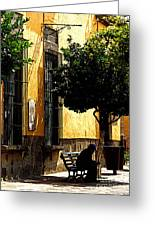Shady Bench Greeting Card by Olden Mexico