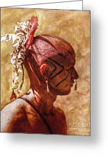 Shawnee Indian Warrior Portrait Greeting Card by Randy Steele