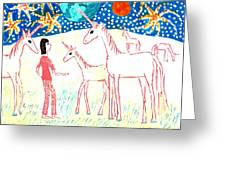 She Meets The Moon Unicorns Greeting Card by Sushila Burgess