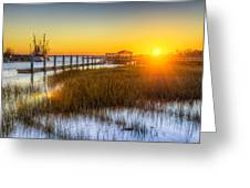 Shem Creek Sunset - Charleston Sc  Greeting Card by Drew Castelhano