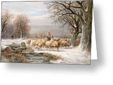 Shepherdess With Her Flock In A Winter Landscape Greeting Card by Alexis de Leeuw