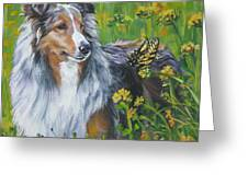 Shetland Sheepdog Wildflowers Greeting Card by L A Shepard