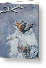 Shetland Sheepdog With Chickadee Greeting Card by Lee Ann Shepard