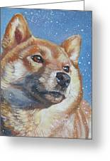 Shiba Inu In Snow Greeting Card by Lee Ann Shepard