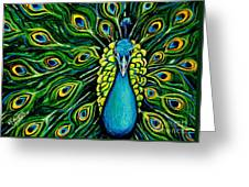Shimmering Feathers Of A Peacock Greeting Card by Elizabeth Robinette Tyndall