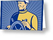 Ship Captain At The Helm  Greeting Card by Aloysius Patrimonio