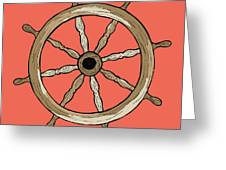 Ship Wheel Greeting Card by Karl Addison
