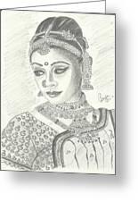 Shobana Chandrakumar-bharatanatyam Dancer Greeting Card by Priya Paul