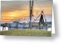 Shrimp Boat Sunset Charleston Sc Greeting Card by Dustin K Ryan