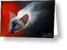 Siamese Cat 7 Painting Greeting Card by Svetlana Novikova