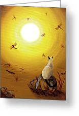 Siamese Cat With Red Dragonflies Greeting Card by Laura Iverson