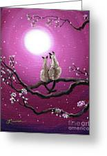 Siamese Cats In Spring Blossoms Greeting Card by Laura Iverson