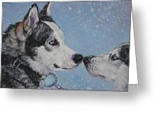 Siberian Huskies In Snow Greeting Card by Lee Ann Shepard