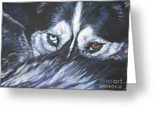 Siberian Husky Eyes Greeting Card by Lee Ann Shepard