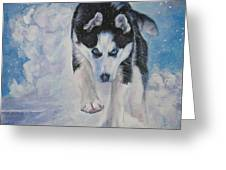 Siberian Husky Run Greeting Card by Lee Ann Shepard