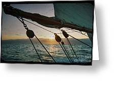 Sicily Sunset Sailing Solwaymaid Greeting Card by Dustin K Ryan