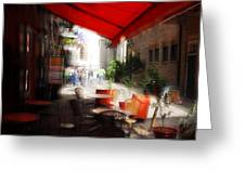 Sidewalk Cafe In Red Greeting Card by Wayne Archer