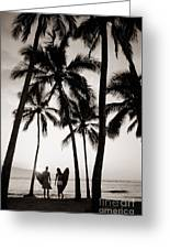 Silhouetted Surfers - Sep Greeting Card by Dana Edmunds - Printscapes