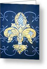 Silver Pineapple Fleur De Lis Greeting Card by Jenny Abshier