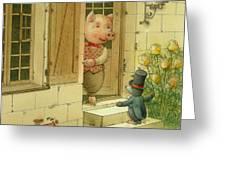 Singing Piglet Greeting Card by Kestutis Kasparavicius