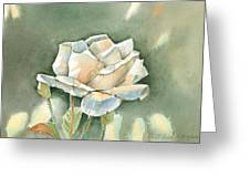 Single  White Rose Greeting Card by Arline Wagner