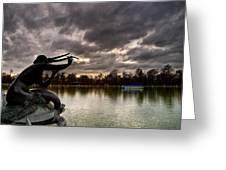 Sirena sobre tortuga Greeting Card by Felix M Cobos