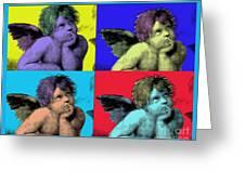 Sisteen Chapel Blue Cherub Angels After Michelangelo After Warhol Robert R Splashy Art Pop Art Print Greeting Card by Robert R Splashy Art
