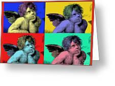 Sisteen Chapel Cherub Angels After Michelangelo After Warhol Robert R Splashy Art Pop Art Prints Greeting Card by Robert R Splashy Art
