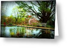 Sit And Ponder - Deep Cut Gardens Greeting Card by Angie Tirado