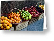 Six Baskets Of Assorted Fresh Fruit Greeting Card by Todd Gipstein