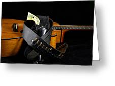 Six Gun And Guitar On Black Greeting Card by M K  Miller