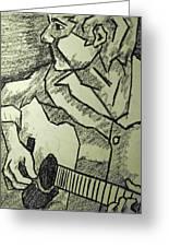 Sketch - Guitar Man Greeting Card by Kamil Swiatek