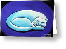 Sleeping Cat Greeting Card by Genevieve Esson